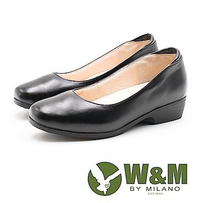 W&M 精緻厚底 圓頭坡跟皮鞋 女鞋-黑