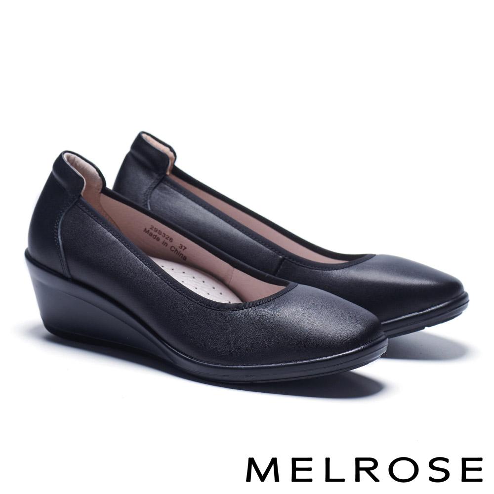 高跟鞋 MELROSE 極簡百搭實穿牛皮微方頭楔型高跟鞋-黑