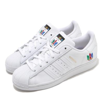 adidas 休閒鞋 Superstar 復古 低筒 女鞋 愛迪達 三葉草 皮革鞋面 貝殼頭 白 彩 FW3694