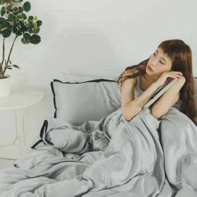 絲薇諾 60支天絲 霧灰 加大四件式-薄床包薄被套組