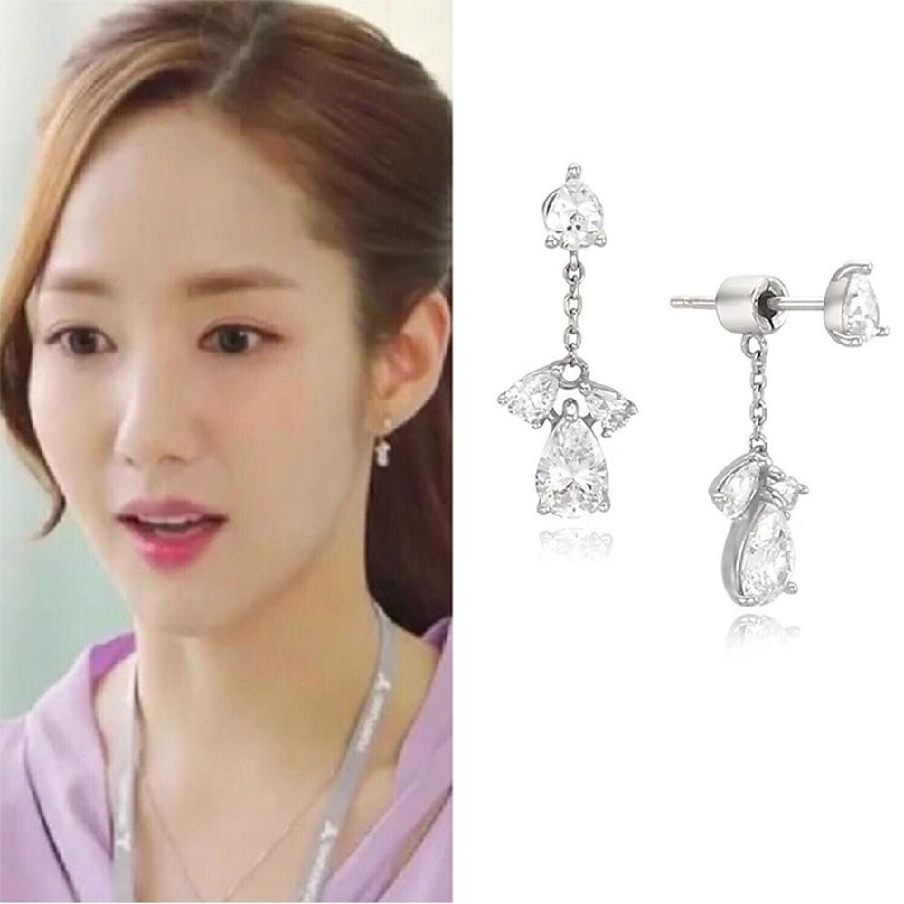 梨花HaNA   韓國925銀金秘書為何那樣水晶妝點耳環