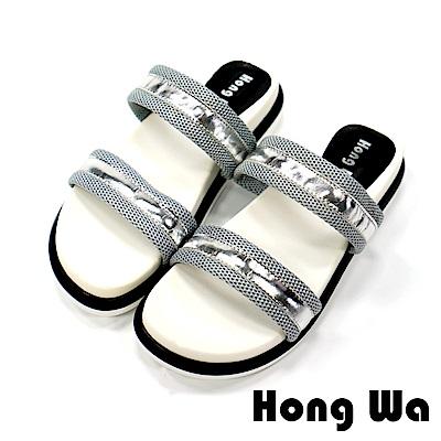 Hong Wa 韓妞盛夏極簡時尚厚底涼鞋-銀