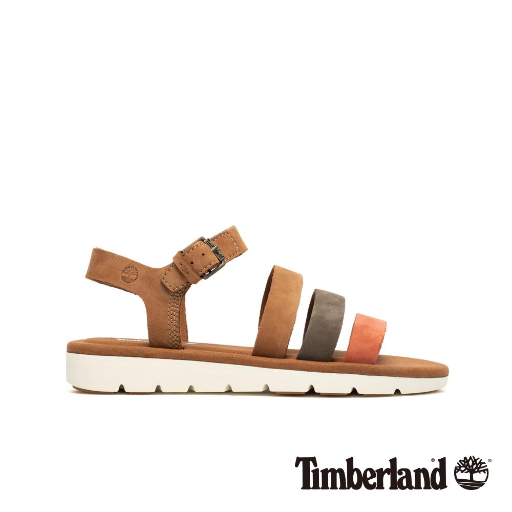 Timberland 女款紅褐色絨面皮革繫帶涼鞋|A1UVK