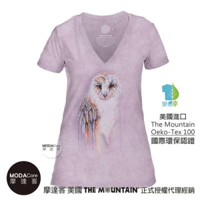 摩達客-美國The Mountain都會系列 彩虹貓頭鷹紫底 V領藝術修身女版短袖T恤