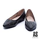 低跟鞋 AS 春日浪漫沖孔造型尖頭內增高低跟鞋-黑