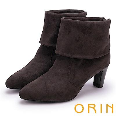 ORIN 經典儁永 復古反折麂皮布高跟短靴-灰色