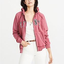 麋鹿 AF A&F 經典刺繡文字連帽外套(女)-桃紅色