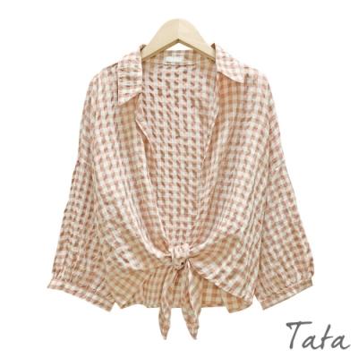 短版格紋綁帶罩衫外套 共二色 TATA-F