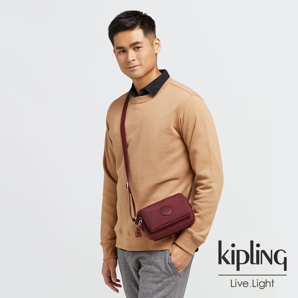 Kipling 迷人微醺紅前後加寬收納側背包-ABANU