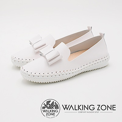WALKING ZONE 典雅舒適工藝車縫厚底休閒 女鞋-經典白