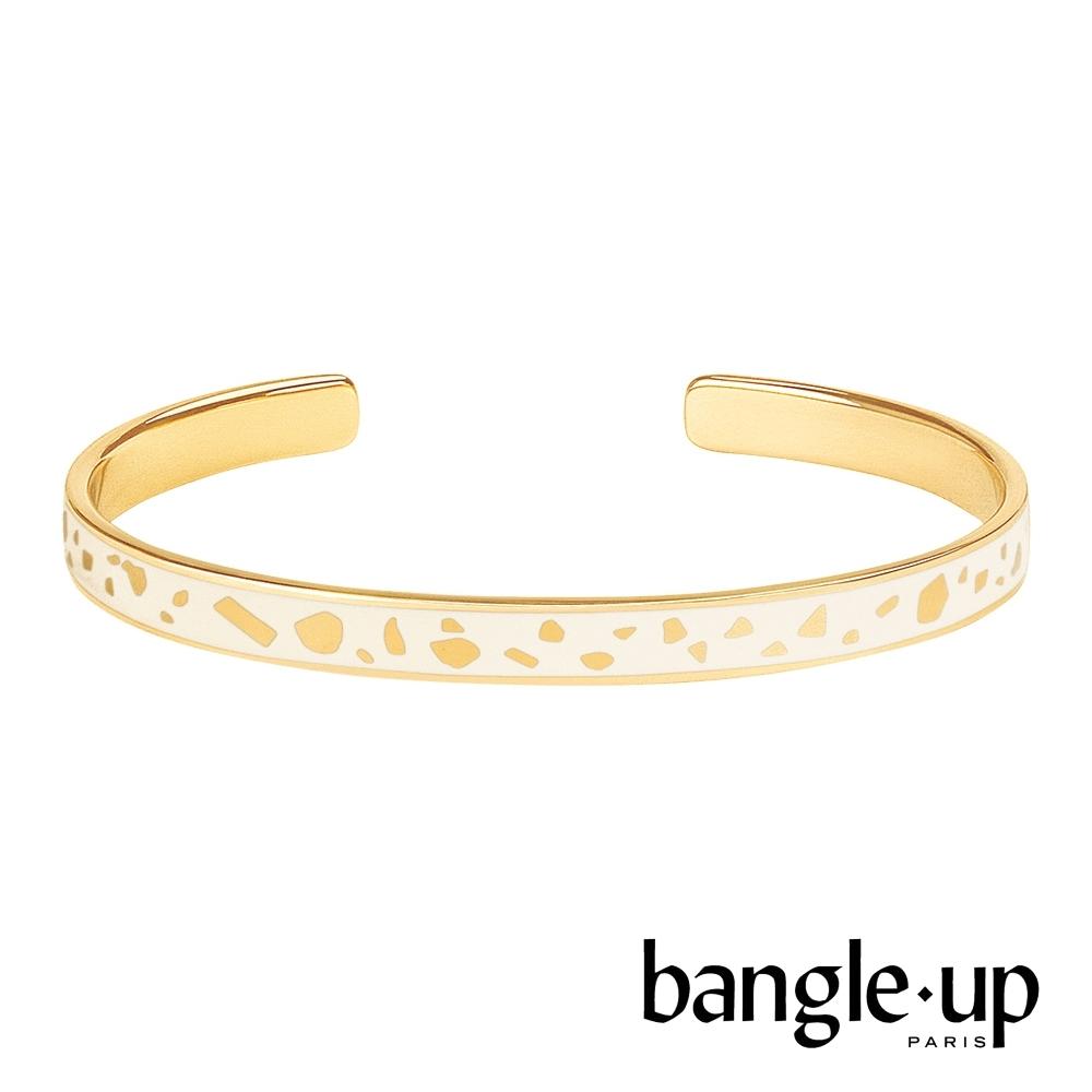 BANGLE UP 復古斑點印花琺瑯鍍金開口手環-質感白