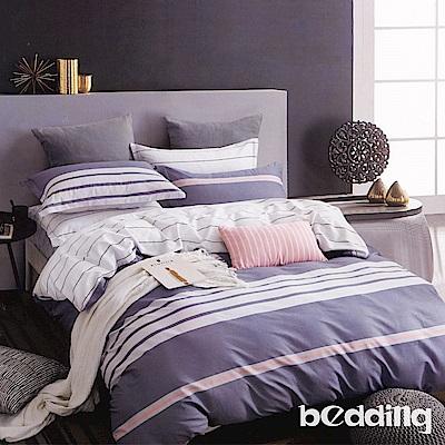 BEDDING-100%棉6尺加大雙人薄式床包三件組-維拉小城-藍