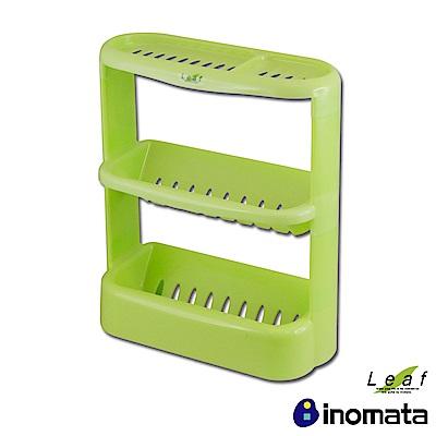日本Inomata 綠葉Leaf日本製衛浴三層收納籃架-綠
