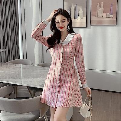 DABI 韓國風修身麻花呢子顯瘦御寒時尚長袖洋裝