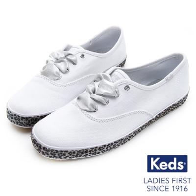 Keds CHAMPION 豹紋滾邊帆布綁帶休閒鞋-白/黑