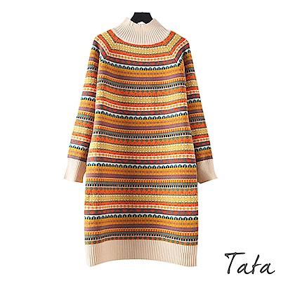 半高領圖騰長版針織洋裝 共二色 TATA
