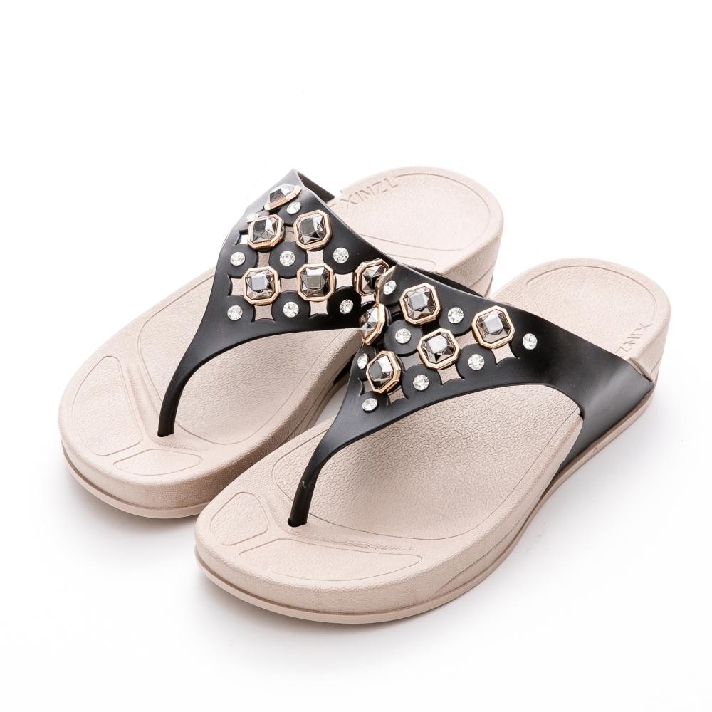 River&Moon防水鞋 簍空寶石彈力夾腳厚底涼拖鞋 黑