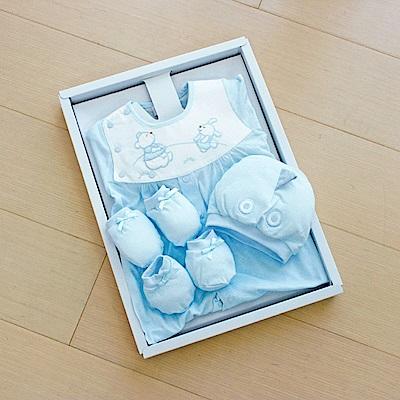 GMP BABY台灣製條紋熊兔兩用兔裝 藍 彌月禮盒1盒