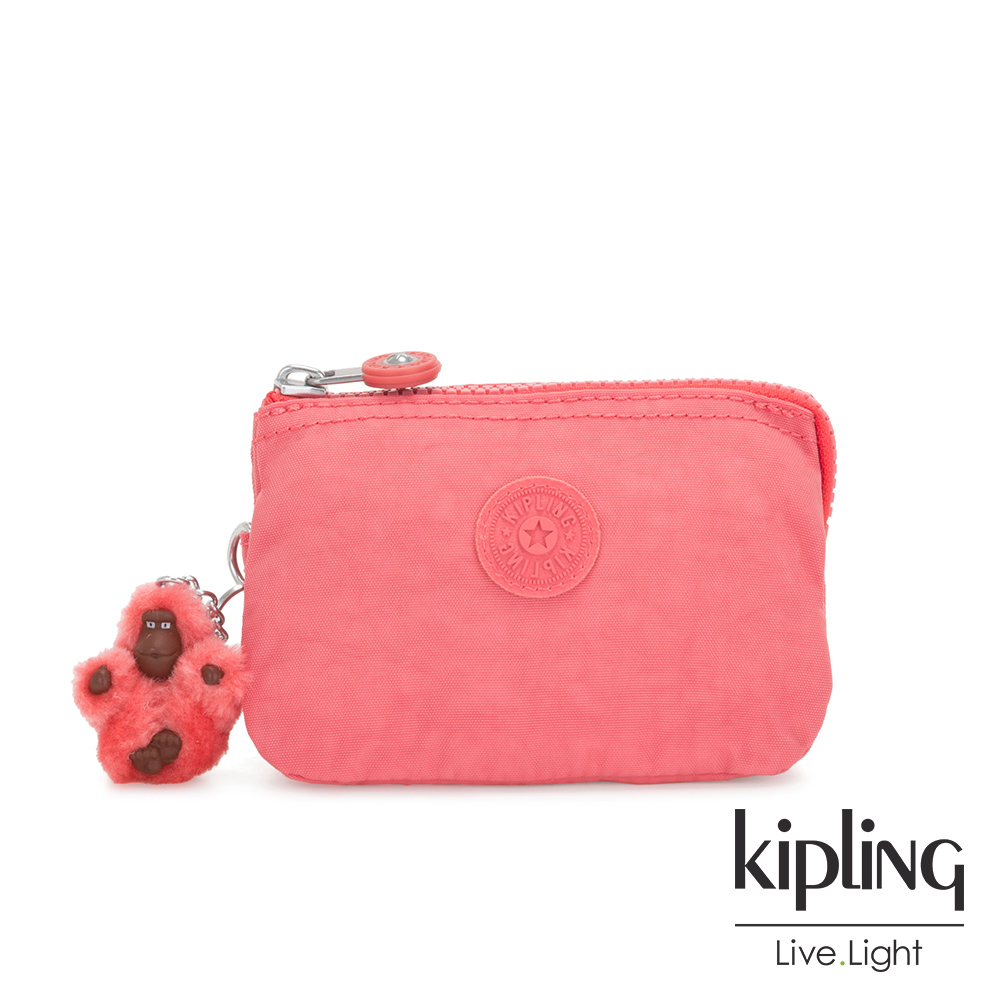 Kipling 甜美蜜桃橘素面三夾層配件包-CREATIVITY S