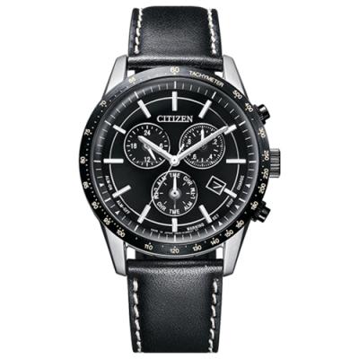 CITIZEN星辰GENT S 時尚男錶光動能三眼皮帶錶-黑色39.5mm(BL5496-11E)