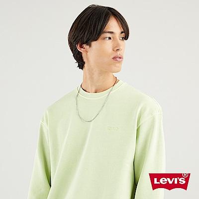 Levis 男款 重磅大學T / 精工Logo刺繡細節 / 425GSM厚棉 / 飄洗萊姆綠