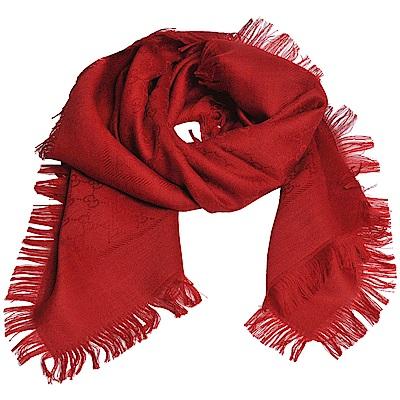 GUCCI SL GG LOGO 高質感絲毛混造型正方形圍巾(紅)