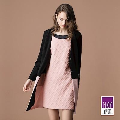 ILEY伊蕾 配色剪接假兩件針織布洋裝(粉)