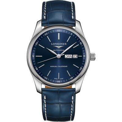 LONGINES浪琴 Master 巨擘經典機械錶-藍/40mm (L29104920)
