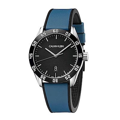 CALVIN KLEIN compete 系列手錶-黑x藍色錶帶/42mm