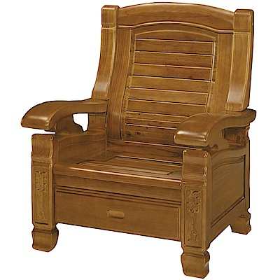 綠活居 肯尼典雅風實木單人座沙發椅(單抽屜設置)-80x75x97cm免組