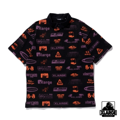 XLARGE S/S ALLOVER PRINT RUGBY SHIRT 滿版LOGO短袖POLO衫-黑
