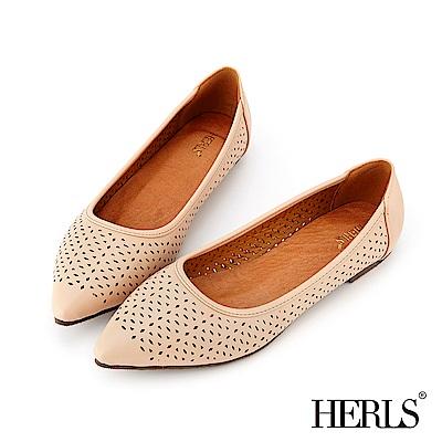 HERLS 氣質甜美 內真皮花窗沖孔尖頭平底鞋-粉色