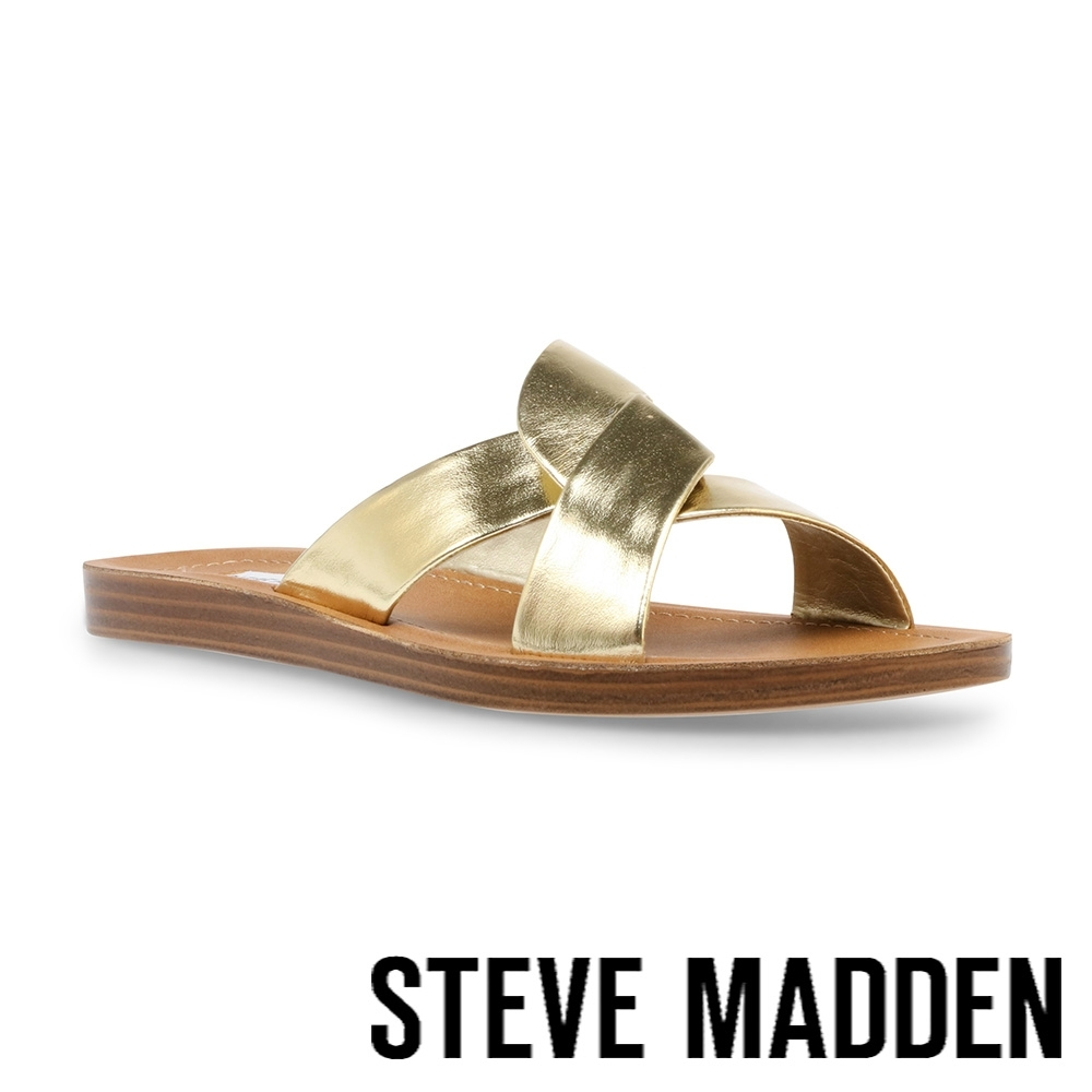STEVE MADDEN-REALM 皮質交叉帶休閒涼拖鞋-金色