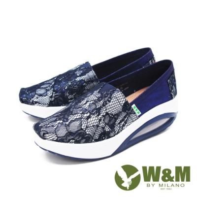 W&M (女) BOUNCE系列蕾絲彈力厚底增高鞋 女鞋 - 藍(另有白.粉)