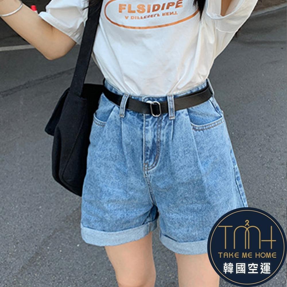 顯瘦反摺牛仔短褲-2色-TMH