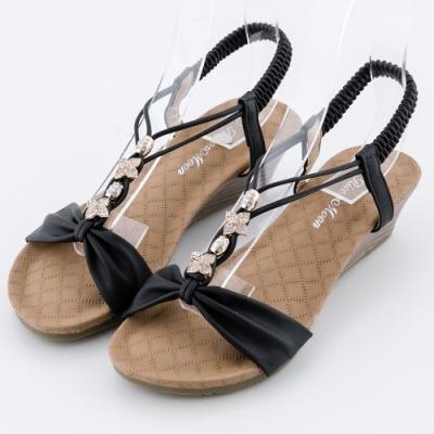 River&Moon大尺碼女鞋 一字皮質朵結鑽扣楔型涼鞋 黑