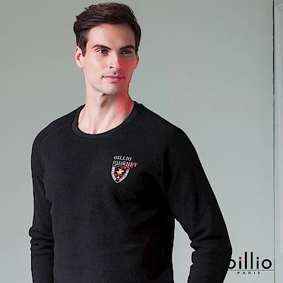 歐洲貴族 oillio 長袖T恤 超輕柔質感 內刷毛保暖 黑色