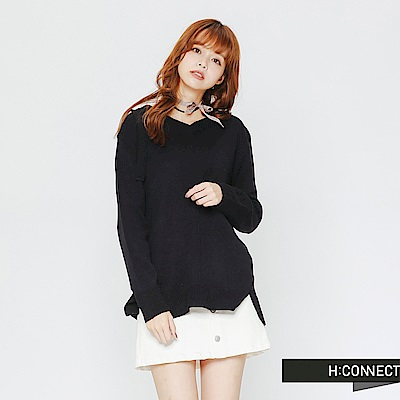 H:CONNECT 韓國品牌 女裝-後領口造型針織上衣-藍
