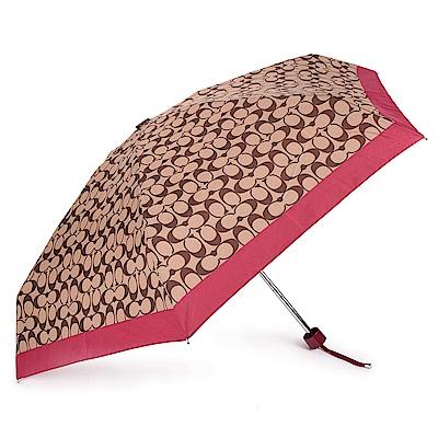 COACH 經典滿版LOGO自動晴雨傘-咖啡/桃紅色