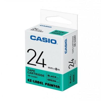 CASIO  標籤機專用色帶-24mm【共有<b>5</b>色】綠底黑字(XR-24GN1)