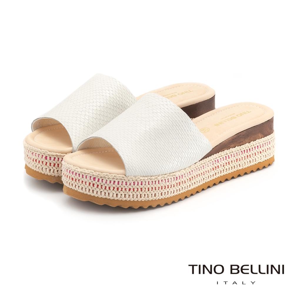 Tino Bellini巴西進口恣意大方編織厚底拖鞋_白