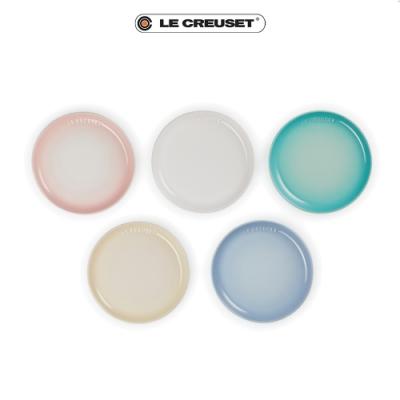 [結帳7折]LE CREUSET瓷器花蕾系列餐盤組17cm 5入(雪花白/沙丘白/淡粉紅/海岸藍/薄荷綠)
