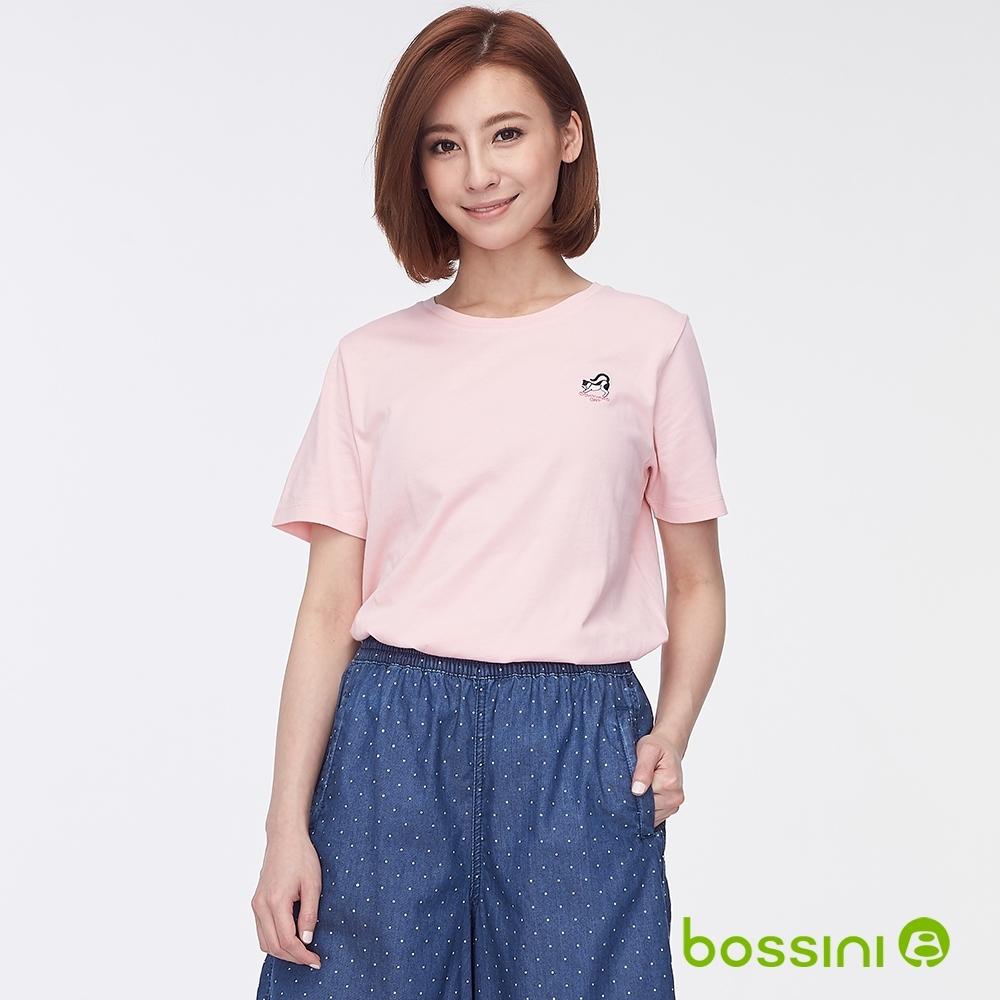 bossini女裝-圓領短袖繡花上衣粉色