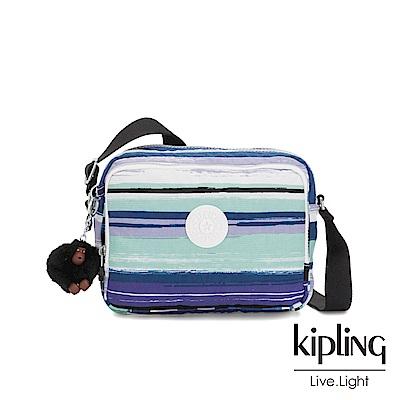 Kipling 蔚藍海岸線條塗鴉雙層側背包-SILEN