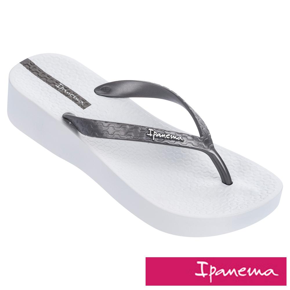 IPANEMA 女 心機原色楔型厚底拖鞋-白色/銀色