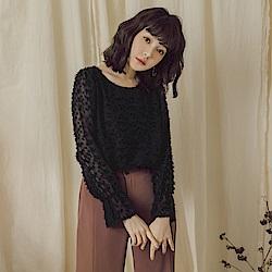 純色毛感喇叭袖雪紡上衣-OB嚴選