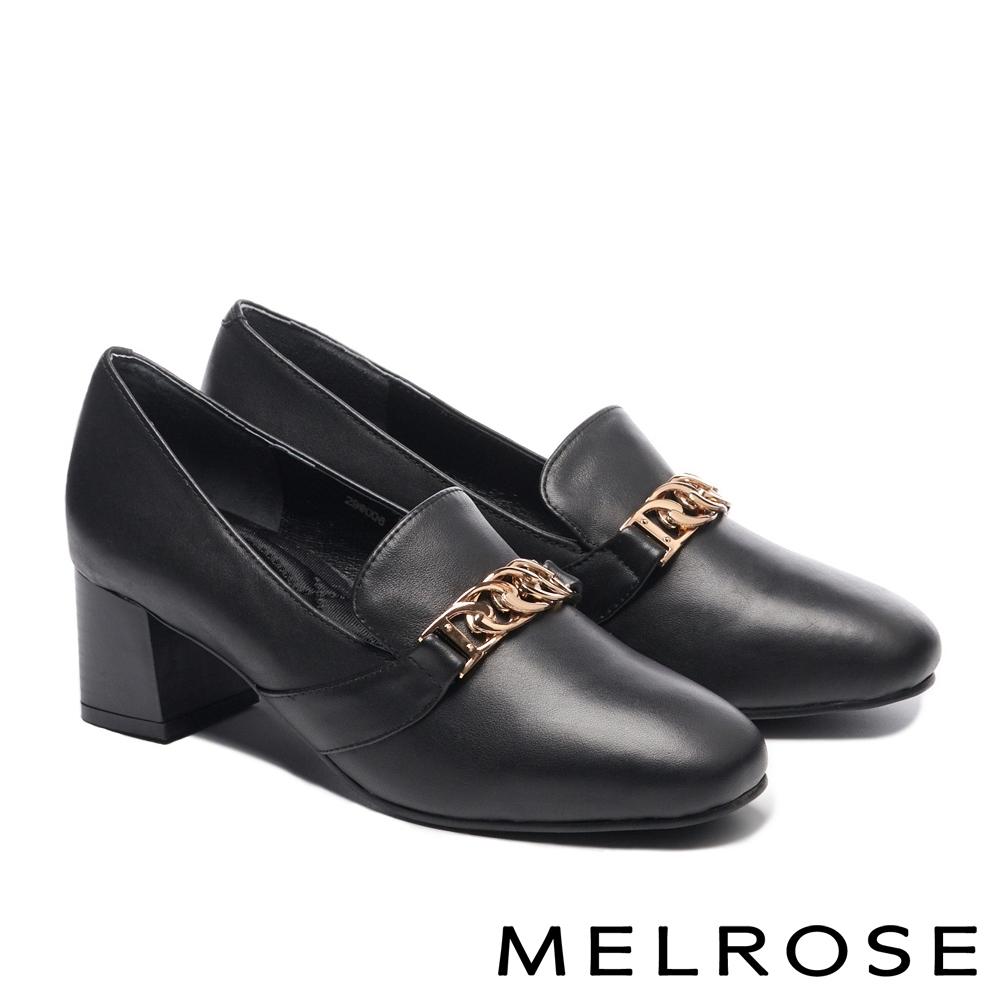 高跟鞋 MELROSE 簡約時尚金屬鏈飾牛皮粗高跟鞋-黑