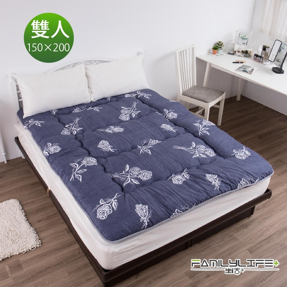 【FL生活+】日式加厚8cm雙人床墊(150*200cm)-深情玫瑰(FL-229-4)
