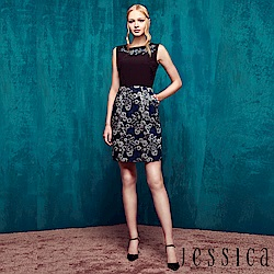 JESSICA - 金屬緹花拼接背心洋裝