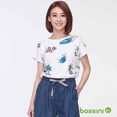bossini女裝-圓領短袖印花上衣02白